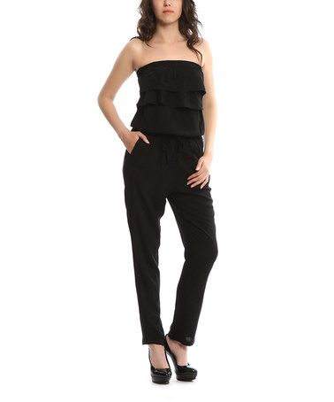 Black Tiered Strapless Jumpsuit