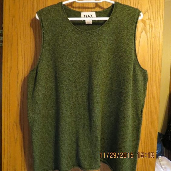 Flax Jeanne Engelhart Loden Green Cotton Blend Sleeveless Sweater Tunic Top 1-2G #FLAX #SleevelessSweater #Any