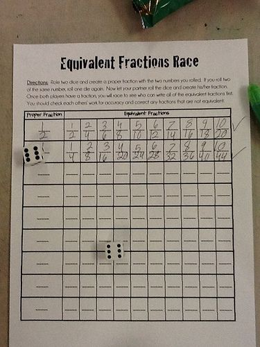 Equivalent Fractions Race - Directions: Roll 2 dice and create a proper fraction. If you roll 2 of the same number, roll 1 die again. Now let your partner roll the dice and create his fraction. Once both players have a fraction, you will race to see who can write all of the equivalent fractions first.