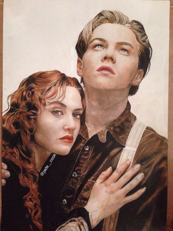 my coloured pencil a1 drawing of titanic rose and jack