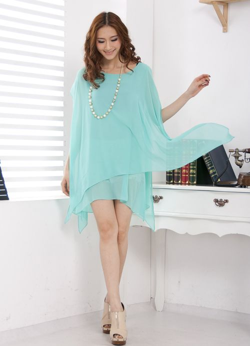 Wide Design Georgette Irregular Dresses Blue