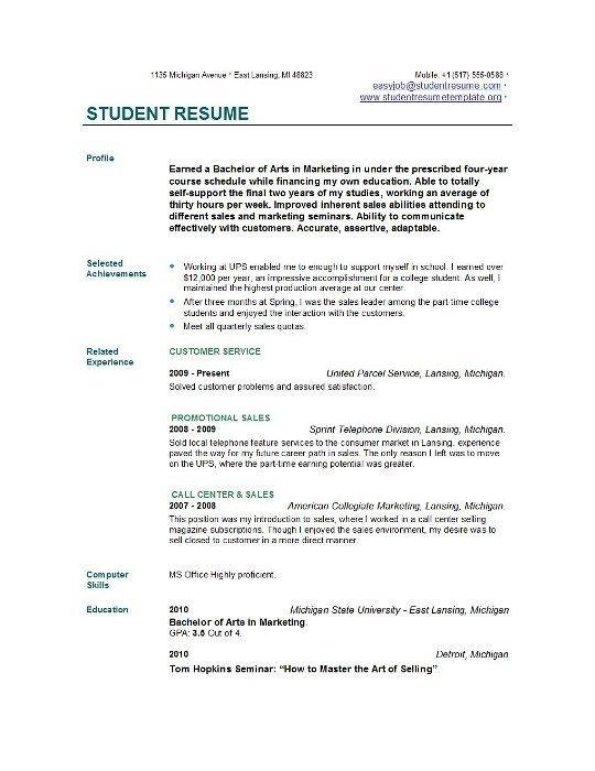 Student Resume Templates Easyjob Student Resume Template Student Resume College Resume Template