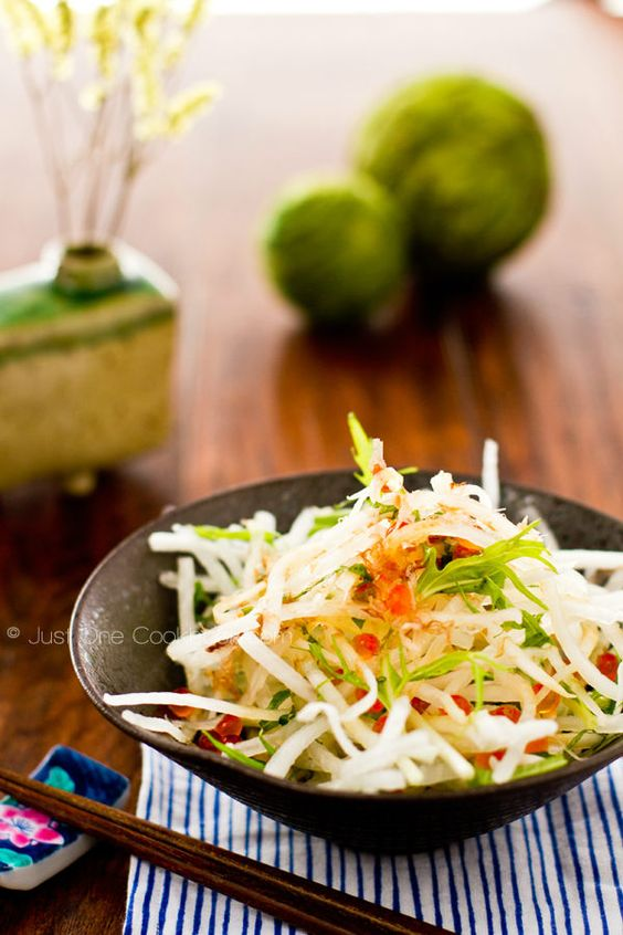 Daikon Salad | Radish Salad with Japanese Plum Dressing 大根サラダ | Easy Japanese Recipes at JustOneCookbook.com