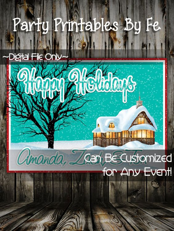 Printable Christmas Party Invitation or Card~ Cabin Happy Holidays Card ~ I57