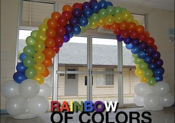 Rainbow balloon arch rainbow balloons and balloon arch on for How to make a rainbow arch