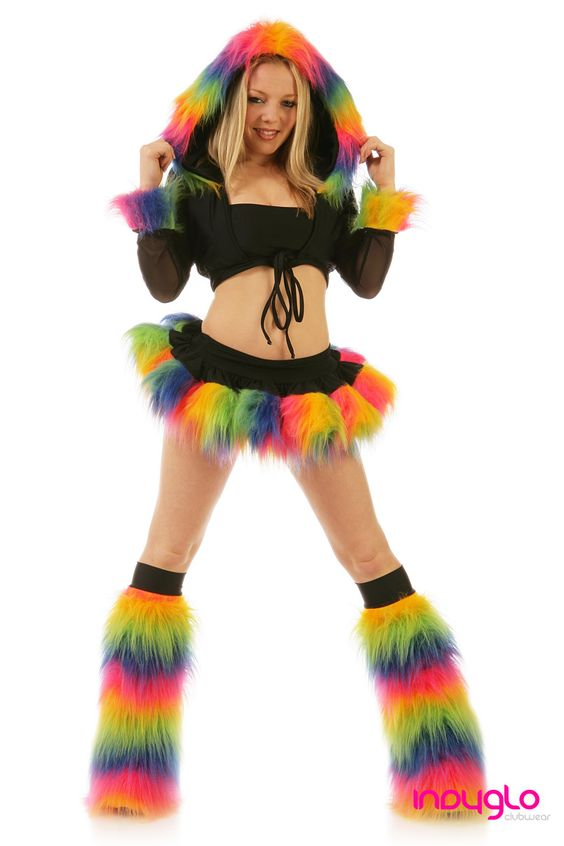 Rainbow Black Pogo Fur Rave Outfit - £69.99 - Only from Indyglo Clubwear.