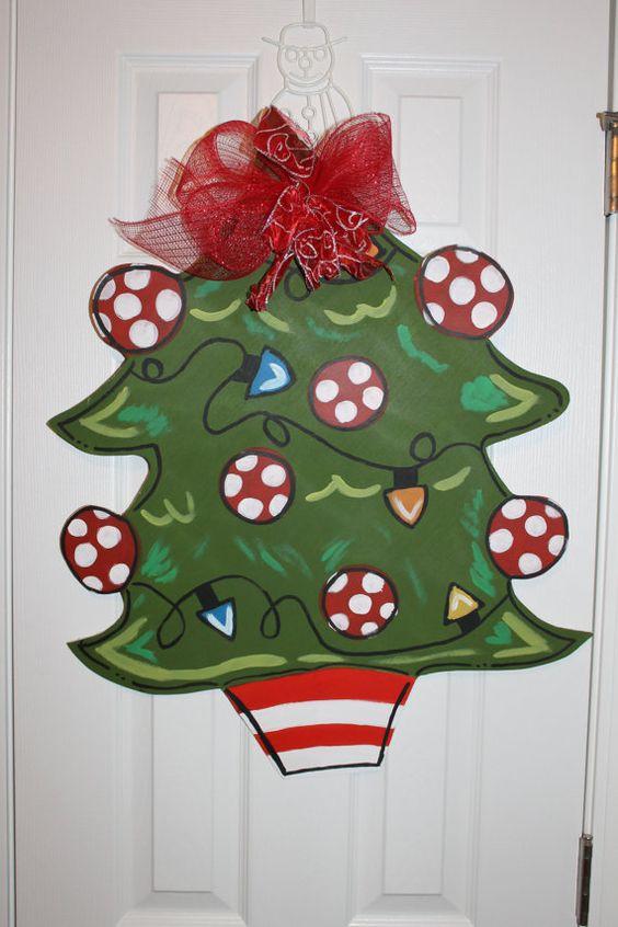 Christmas tree door hanger wooden wreath wood cut out