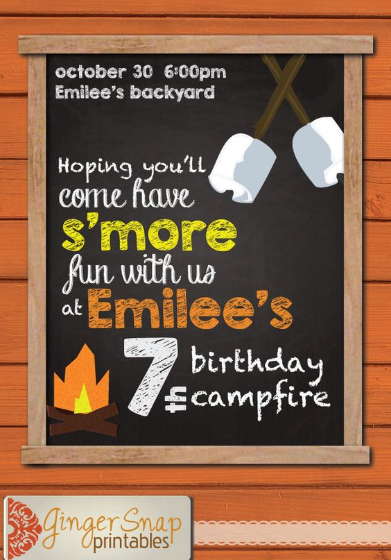 campfire birthday party invitation kids camping cookout