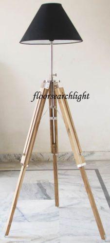 ROYAL-DESIGNER-NAUTICAL-TRIPOD-FLOOR-LAMP-MODERN-TEAK-WOOD-LAMPSHADE-TRIPO-STAND