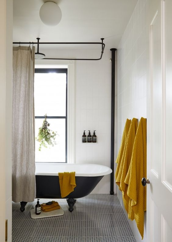 Architect Jess Thomas Brooklyn bath remodel with clawfoot tub and Mano a Mano tiles. Kate Sears photo.