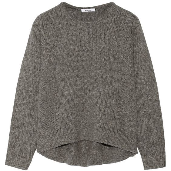 Helmut Lang Cutout wool-blend sweater (€185) ❤ liked on Polyvore featuring tops, sweaters, shirts, jumpers, marled sweater, helmut lang top, drape top, shirts & tops and cutout tops