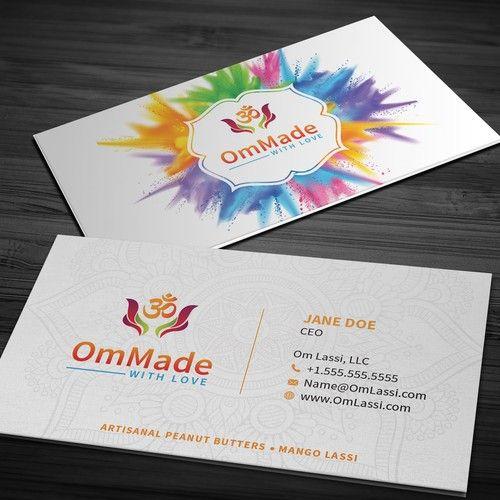 Have A Logo Need Business Cards Colorful Fun Elegant Om Lassi Makes Mango Lassi Yoghurt Based Mango Colorful Business Card Cookbook Design Mango Drinks