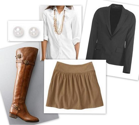 if the skirt was longer I would wear this to work. love the boots & necklace.