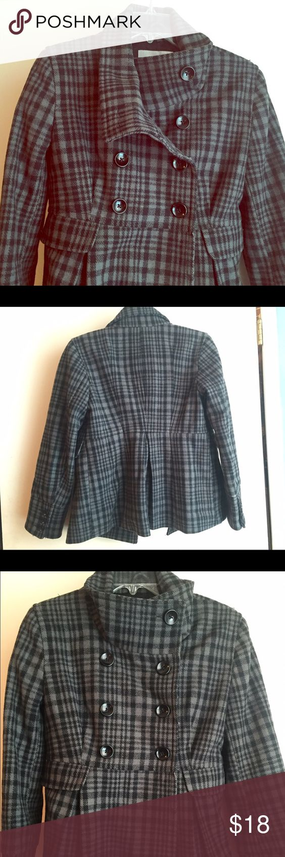 Peacoat with gray toned herringbone/plaid print! Gorgeous and easily worn high-neck Peacoat and has only been worn twice! Fits x-small - medium! depending on how much you like to wear under your coats in the fall/winter :) Old Navy Jackets & Coats Pea Coats