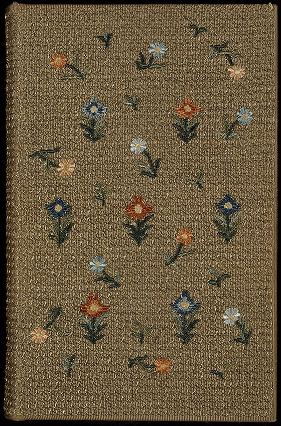 English embroidered binding, late 19th century Bound in England, probably in the late 19th century for the publisher F.S. Ellis, this cover of beige silk cloth with mesh of gold thread is oversewn with flowers and leaves in imitation of the cover designed by the author, Dante Gabriel Rossetti for the standard copy.  A pencilled note inside the volume attributes the binding to Miss E. Burden, and this is probably the embroiderer, Elizabeth (Bessie) Burden (1842-1924) who was chief technical…