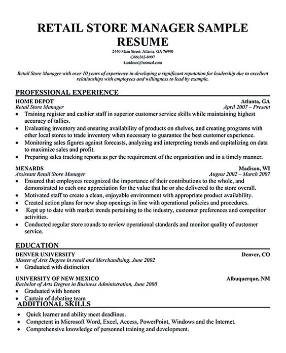 Sample Resume For Retail Store Retail Manager Resume Template