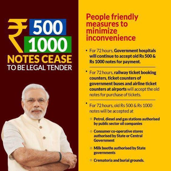 500 and 1000 rupee notes