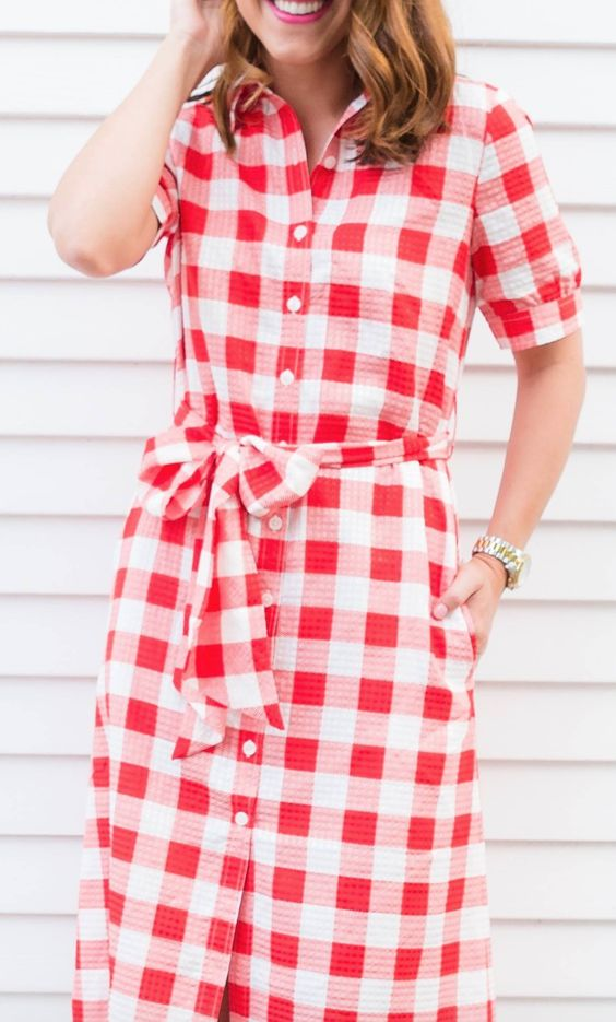 Gingham midi shirtdress