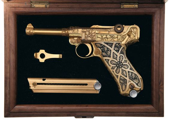 Gold-Plated-Factory-Engraved-Carved-Ivory-Stocked-Krieghoff-Presentation-Luger-Pistol