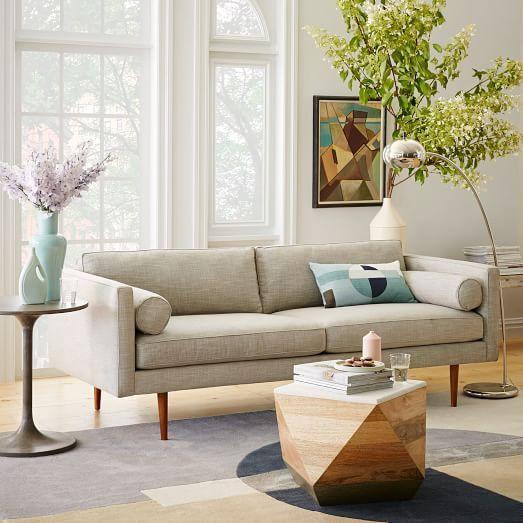 Monroe Mid-Century Sofa, Shadow Weave, Oatmeal living Room