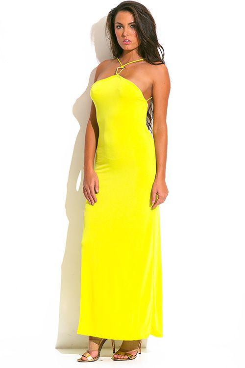 Cute cheap chartruese yellow green bejeweled halter backless evening party maxi sun dress