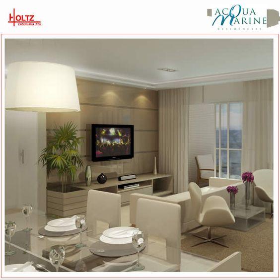 Painel De Sala De Tv Decorado ~ Sala com Painel de tv preenchendo toda parede Decorado Aqua Marine