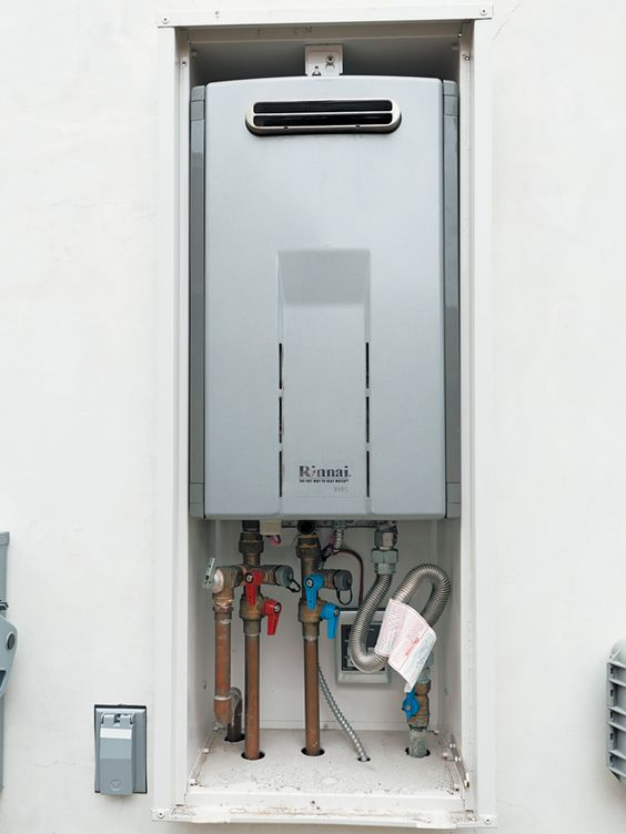 dwell.com: Family Homes, Water Heater, Rinnai Tankless, Hot Water, Tankless Water, Avoid Running, Rinnai Water, Tiny House Ideas