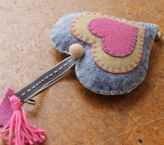 Felt heart by HereWithMyThings on Etsy