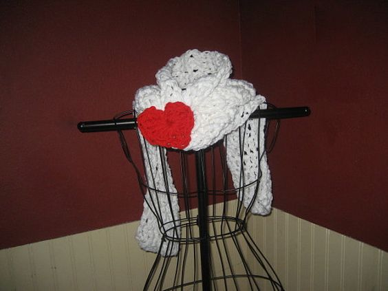 Valentine Crochet Scarf Made With 2 Strands Of Yarn and Removable Crocheted Red Heart