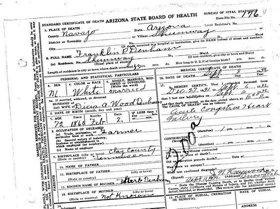 Franklin Parish Denham death certificate. Found at genealogy.az.gov ...