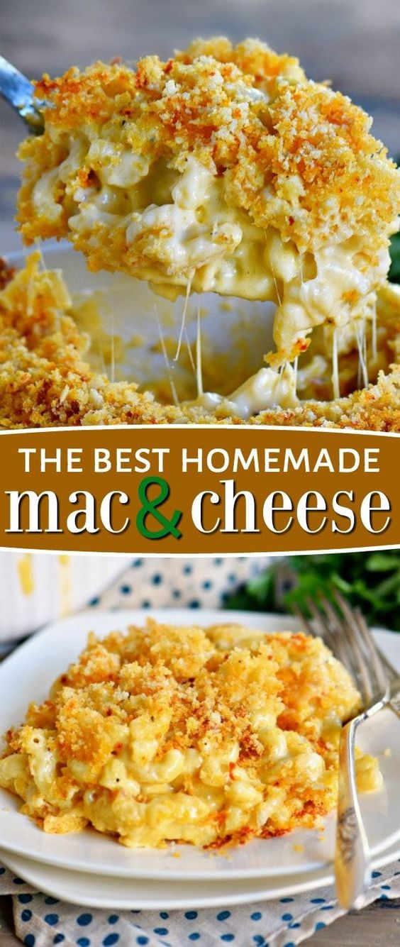 The BEST Homemade Mac and Cheese of your LIFE. Outrageously cheesy, ultra creamy, and topped with a crunchy Panko-Parmesan topping, this mac and cheese recipe is most definitely a keeper. I used three different cheese and a homemade cheese sauce to take this macaroni and cheese recipe over the top. // Mom On Timeout #recipe #recipes #dinner #cheesy #macandcheese #macaroni #entree #kidfriendly #momontimeout