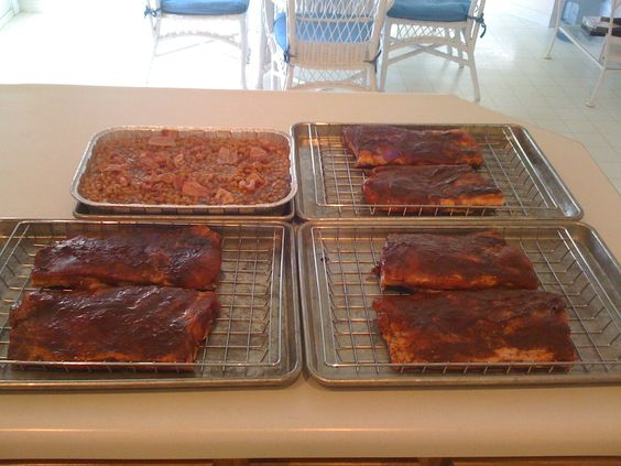 Ribs and Baked Beans ready to go into the smoker.