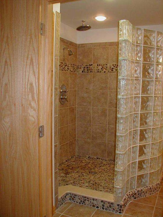 Nice glass block shower and pebble floor on pinterest for Glass block floor