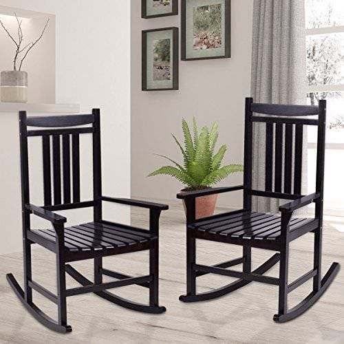Rocking Chair Set 2 Porch Indoor Outdoor Patio Wood Rocker Furniture Deck Black Homeideas With Images Wood Rocking Chair Rocking Chair Porch Patio Rocking Chairs