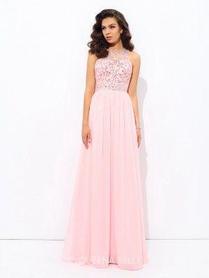 A-Line/Princess Sleeveless Jewel Beading Chiffon Floor-Length Dresses - Prom Dresses - Occasion Dresses - QueenaBelle.com