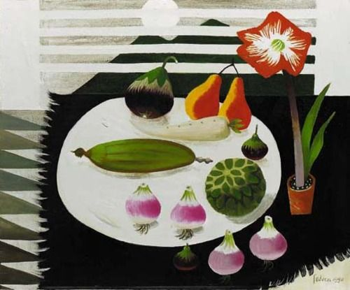 Still life with pears and onions, Mary Fedden. English born in 1915