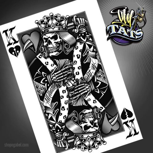 Tattoo ideas king and queen of hearts og abel queen of for Skeleton king tattoo