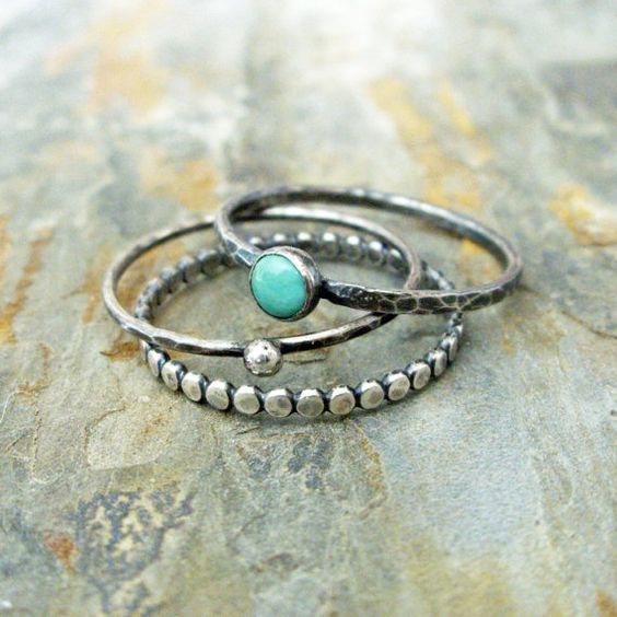 Turquoise Stacking Rings Set in Antiqued Sterling by brightsmith
