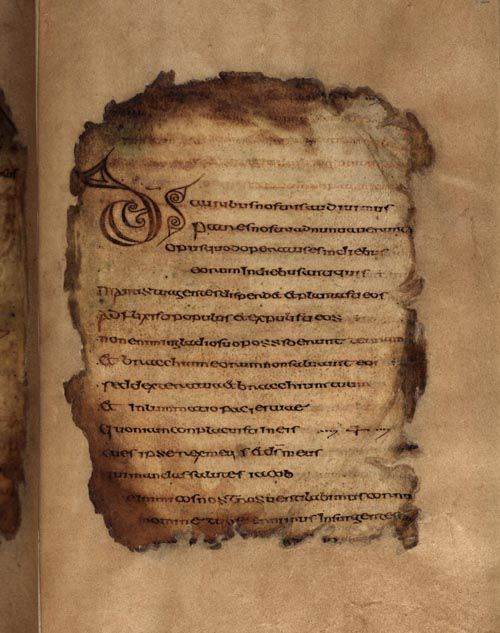 A page from the Psalter of St. Columba Cathach, fol. 12r © RIA: