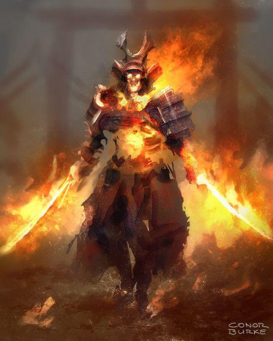 Flaming Club Fantasy Art