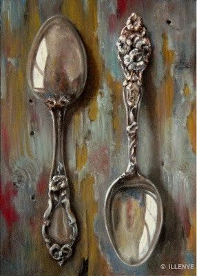 sterling silver spoons on aqua painted peeling wood, painting by artist JEANNE ILLENYE