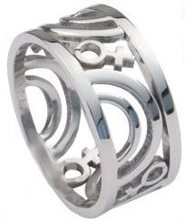 Carved Lesbian Pride Stainless Steel Ring at http://overtherainbowshop.com Very unique and intricately carved stainless steel ring.  This ring features carved discrete rainbows and Venus symbols.  It is 12mm wide and very light weight. $16.95