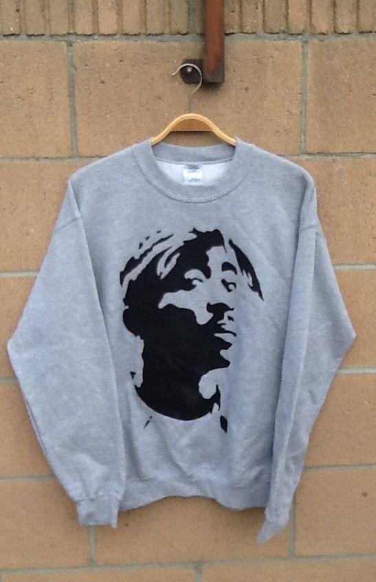 TUPAC light grey crewneck sweater by JealousCorazon on Etsy, $30.00