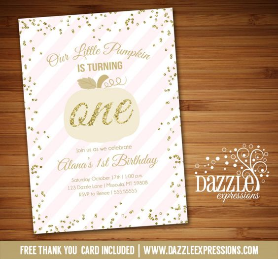 Printable Pink And Gold Glitter Pumpkin Birthday
