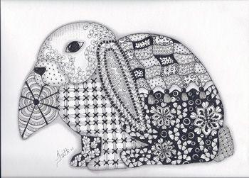 Floppy Eared Rabbit Zentangledzoo Doodles Pinterest