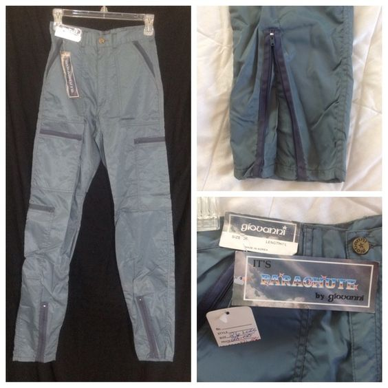 Totally cool!  Vintage 80s parachute pants NWT Grey color.  Lots of pockets and zippers.  zippered ankles.  Giovanni brand.  Easy to care for.  26 inch waist.  31 inch length.  Might have musty smell from storage. Vintage Pants