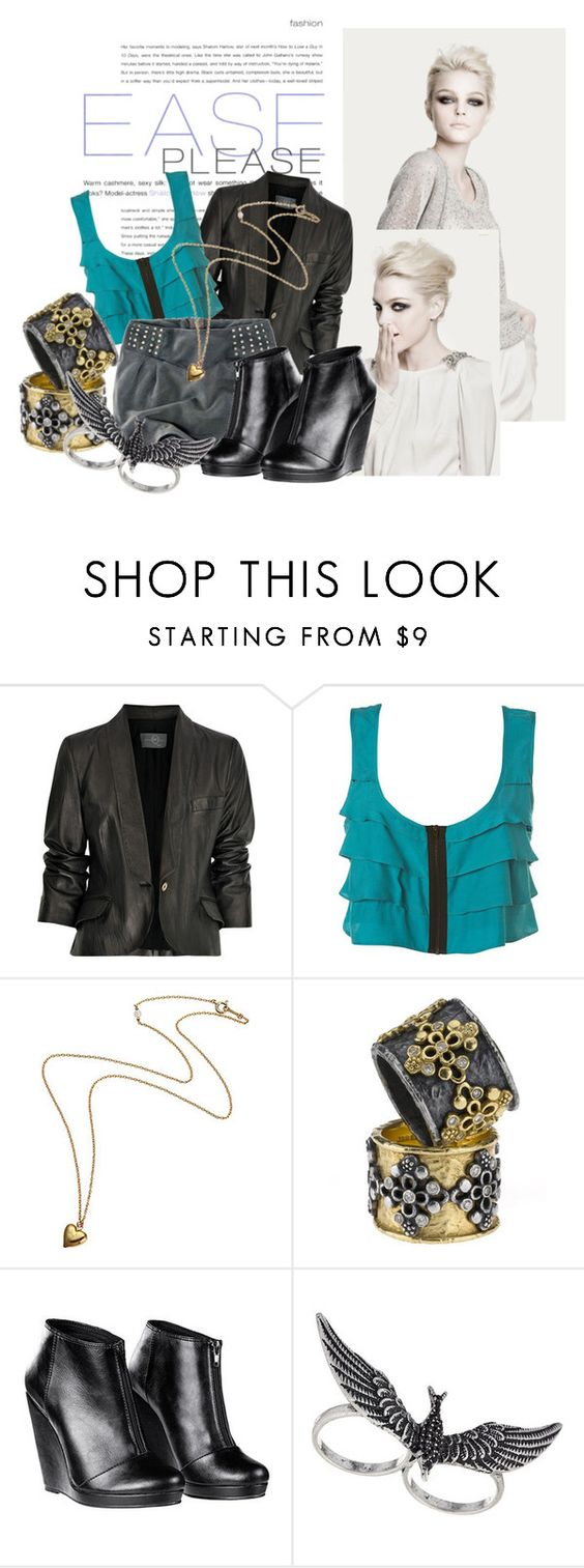 """In the midst of winter, I found there was, within me, an invincible summer."" by rrocha ❤ liked on Polyvore featuring McQ by Alexander McQueen, Jolie B. Ray Designs, H&M, Topman, chain necklaces, knuckle rings, mini skirt, h&m shoes and leather jacket"