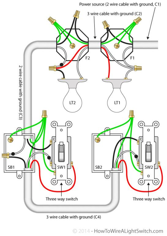 Circuit Diagram For 3 Way Switches Controlling Two Lights With The Power Feed Via The Light Home Electrical Wiring Electrical Wiring Light Switch Wiring