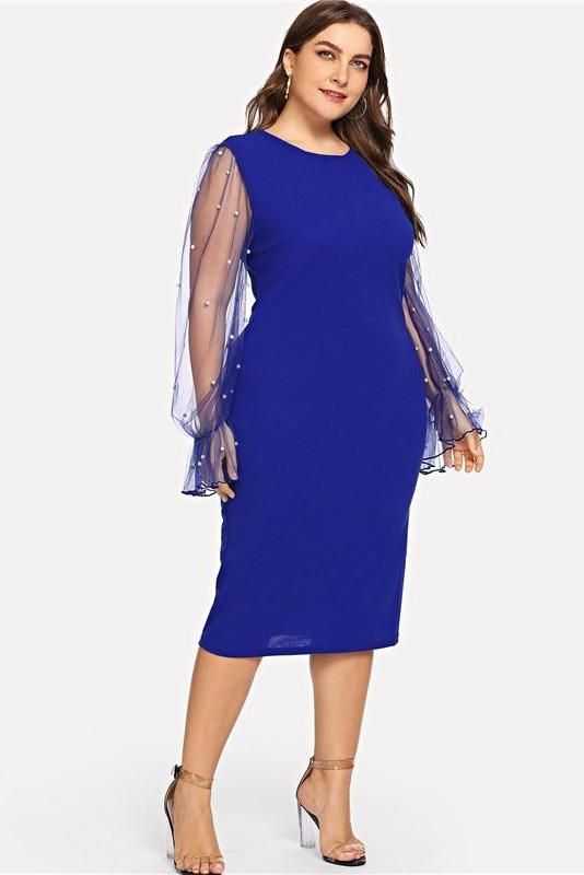 Plus Size Pearl Beaded Mesh Ruffle Sleeve Bodycon Dress ...