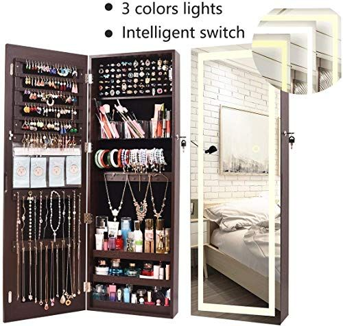Best Seller Aoou Jewelry Organizer Hanging Wall Mounted Jewelry Armoire Full Length Mirror Led Lock Door Jewelry Cabinet Best Intelligent Switch Large Storag Wall Mounted Jewelry Armoire Full Length Mirror Led